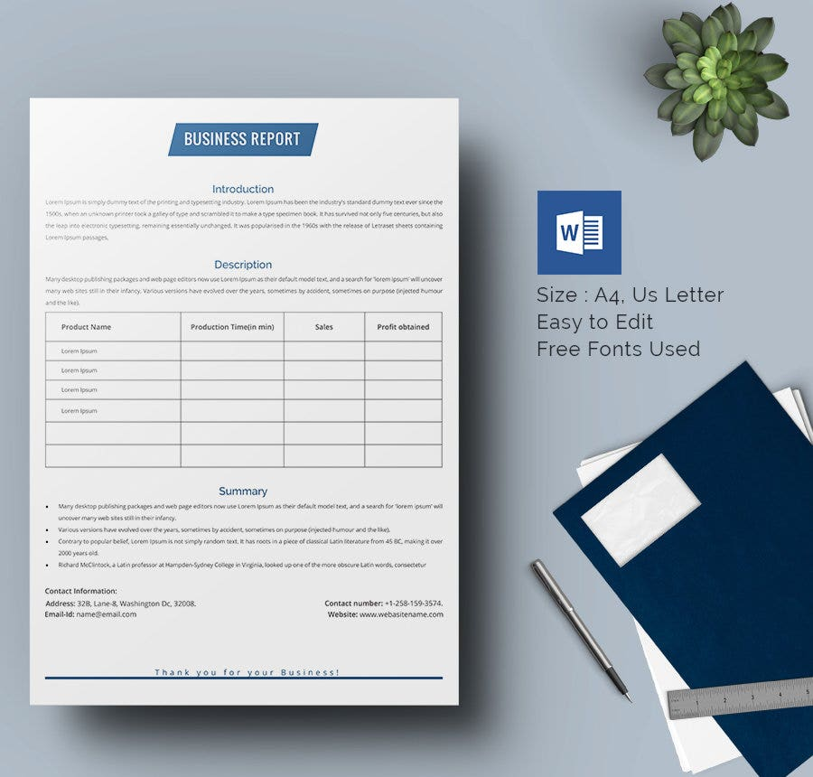 17 Business Report Templates Free Sample Example Format – Word Template Report