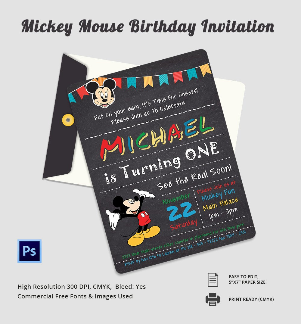 Editable Micky Mouse Birthday invitation Template