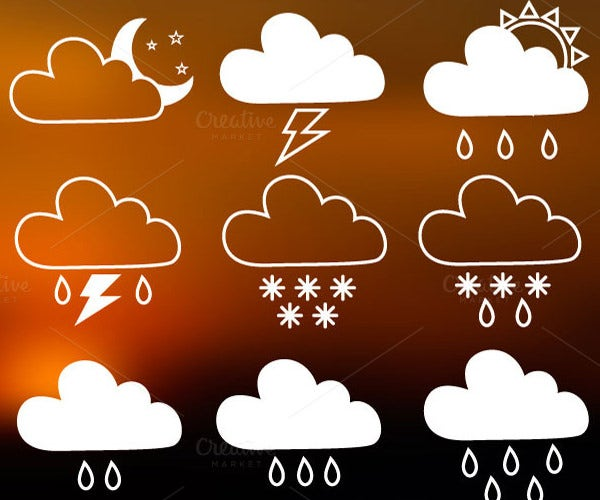 20 hand drawn weather icons set