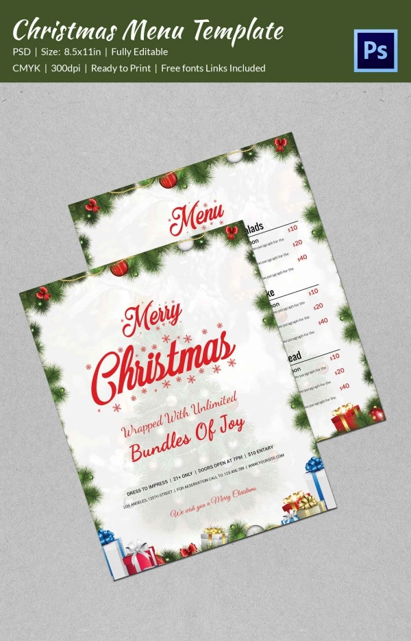 Christmas Menu Template PSD Format Download