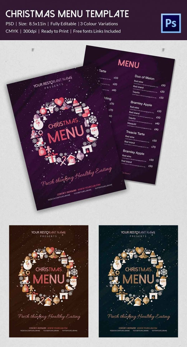 Example Christmas Wedding Menu Template