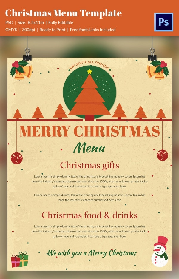 Awesome Christmas Menu Template Sample Download