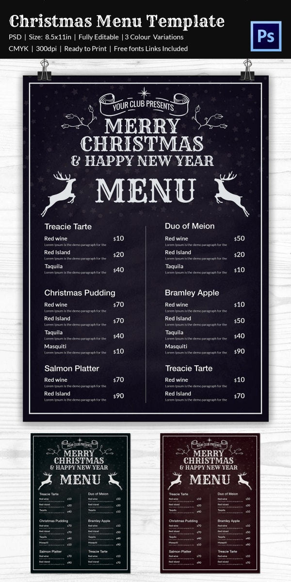 Delicious Christmas Menu Template