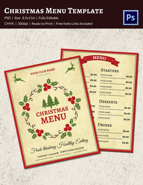 Traditional Christmas Menu Template PSD Format