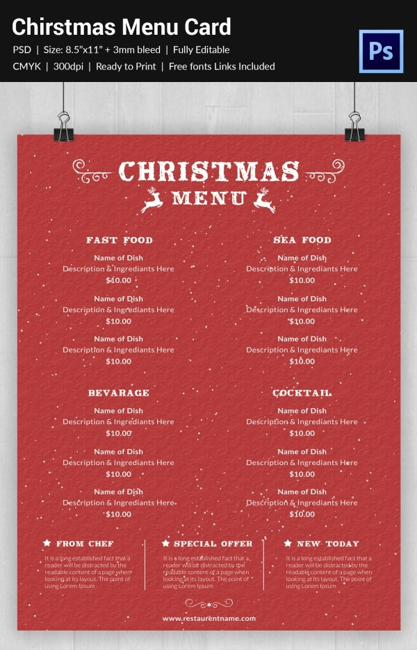 Complete Food Menu Template of Christmas