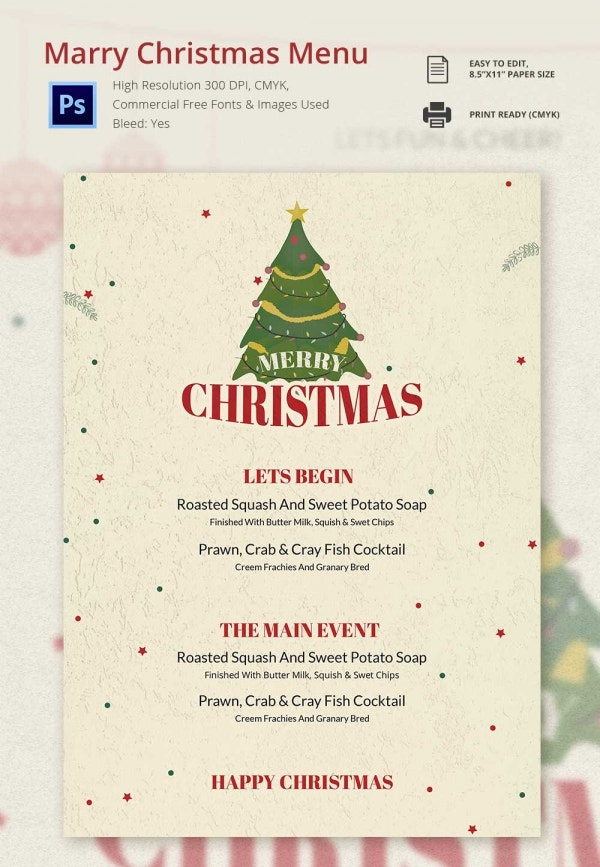 Elegant Christmas Menu Template