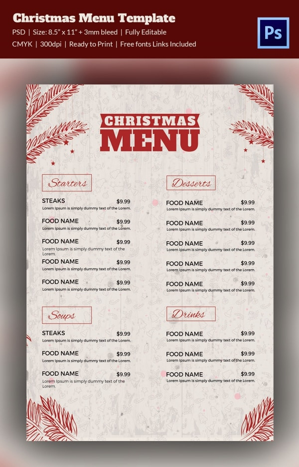 Fully Editable Christmas Menu Template