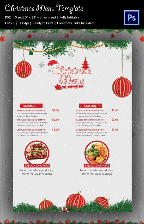 Christmas Menu Template Example Format