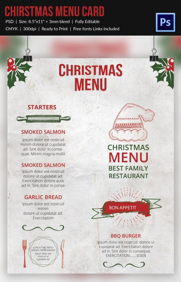 Christmas Festive Menu PSD Format Download