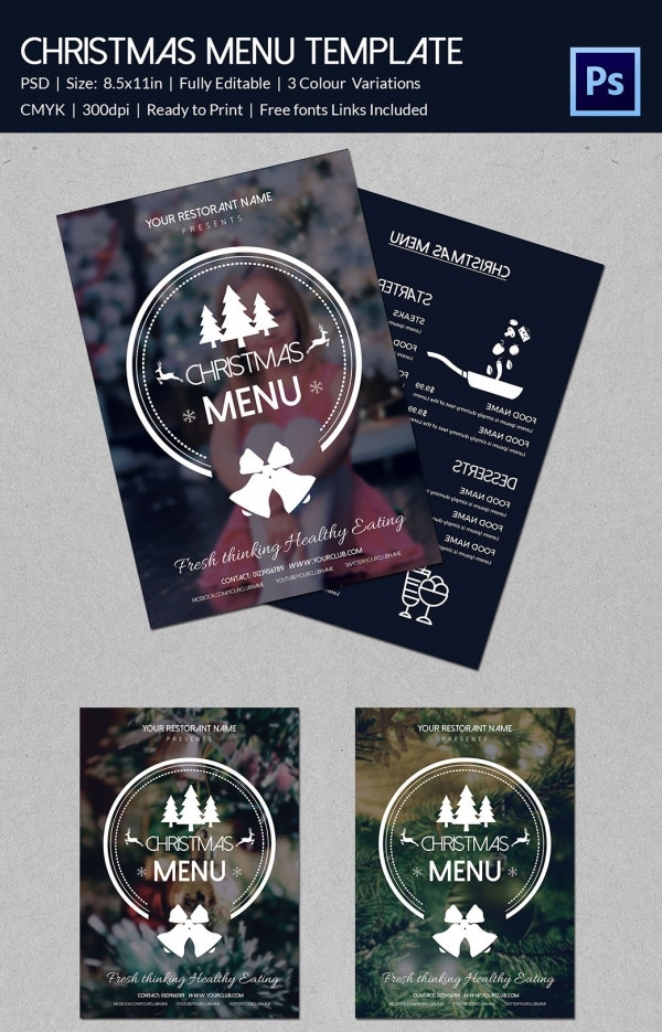 Custom Christmas Menu Template