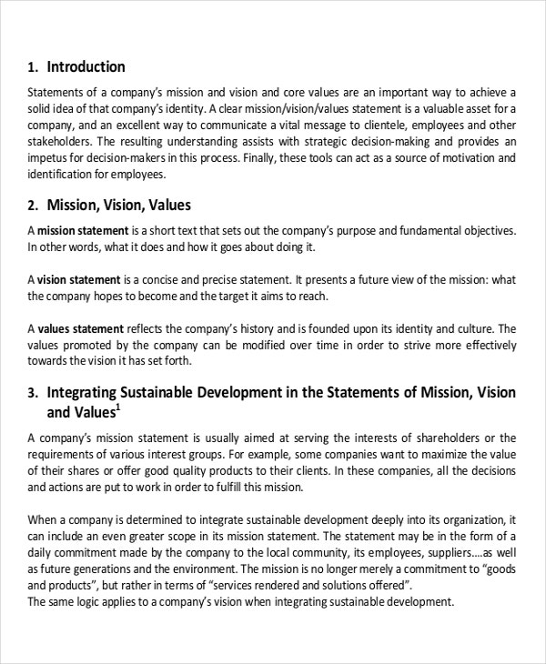 Mission statement for business plan