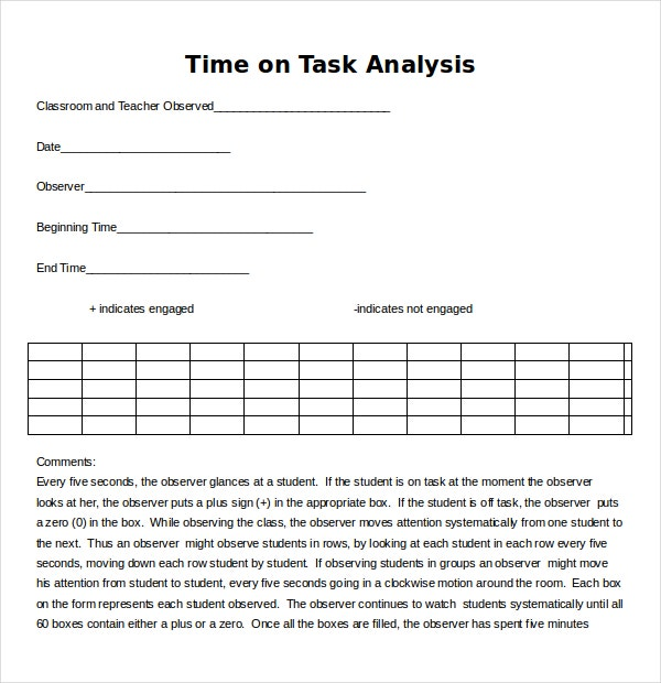 Task Analysis Templates   Free Word Pdf Documents Download