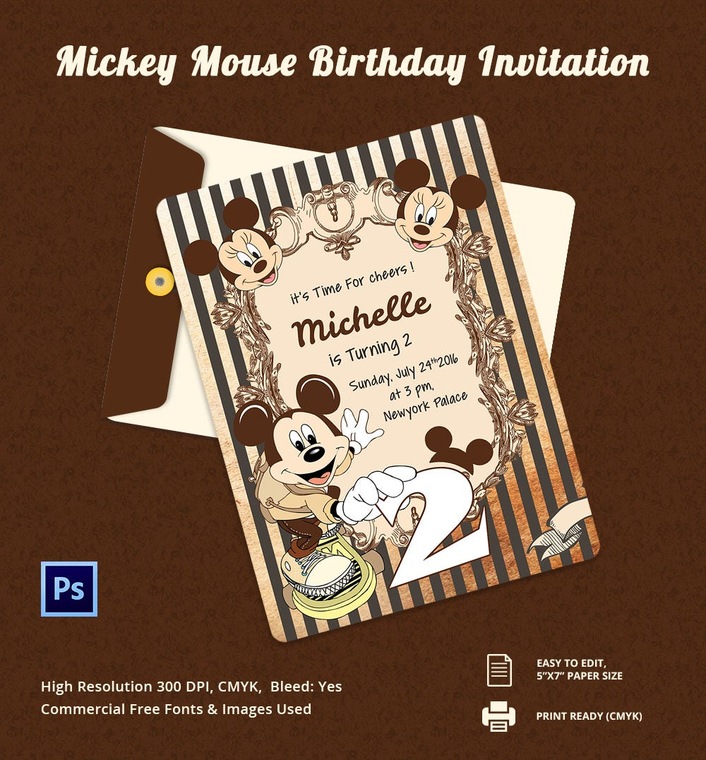 micky Mouse Birthday Invitation card Template