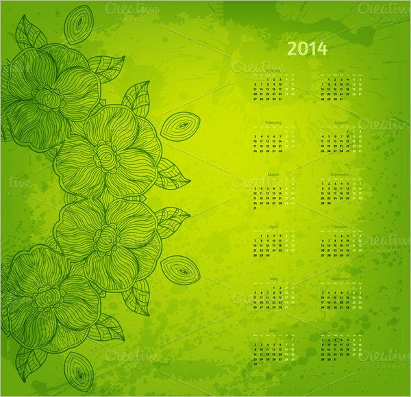 2014 year vector calendar template