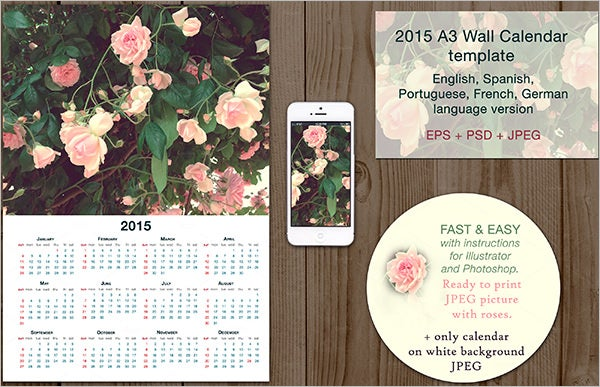 2015 multilanguage desk wall calendar