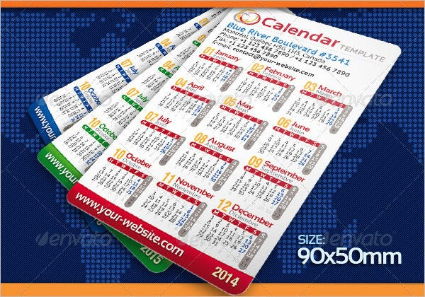 2015 pocket calendar template
