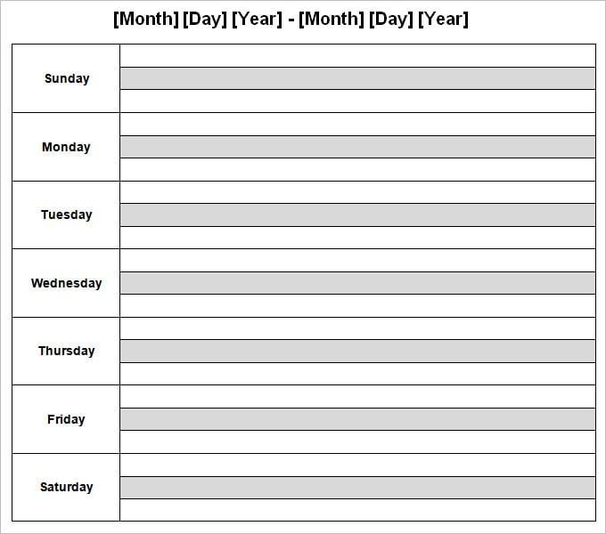Week Calendar Template   Calendar Template 2016