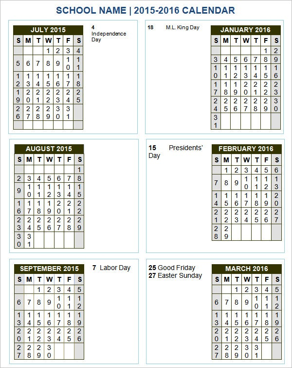 Calendar Templates Yearly : School calendar templates free sample example