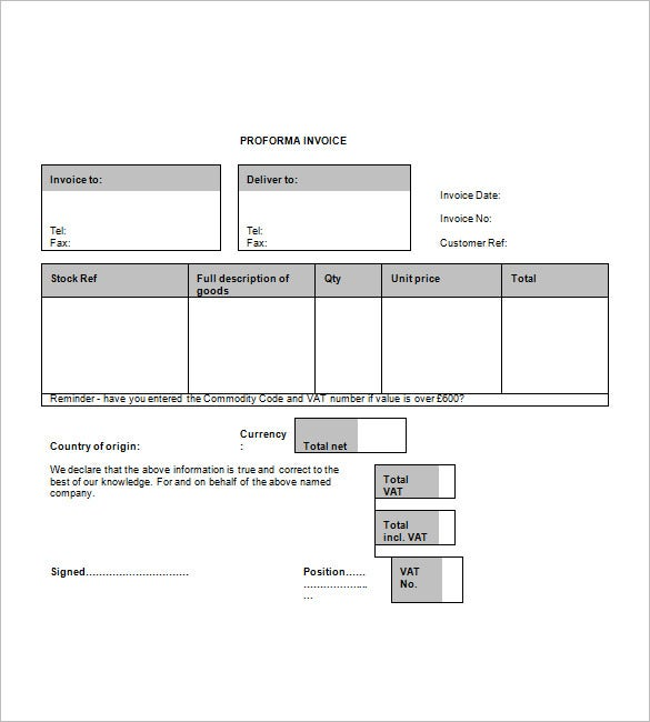 Proforma Invoice Template Free Excel Word PDF Documents - What is a proforma invoice for service business