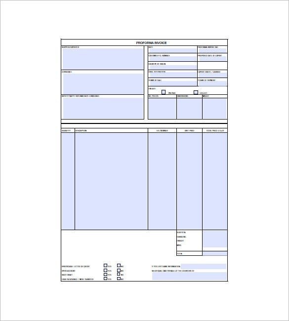Proforma Invoice Template - Free Excel, Word, Pdf Documents