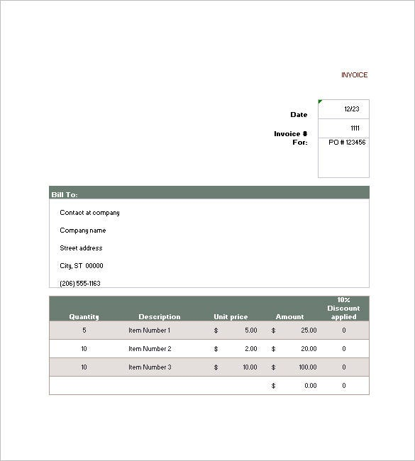 sales invoice template free download