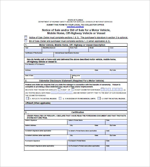 Florida State Sale Invoice Template Sample  Sales Invoice Example