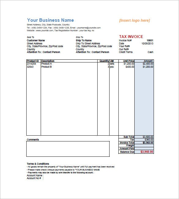 sales invoice template - free word excel pdf download | free, Invoice templates