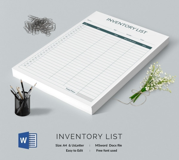 Sample Inventory List Template