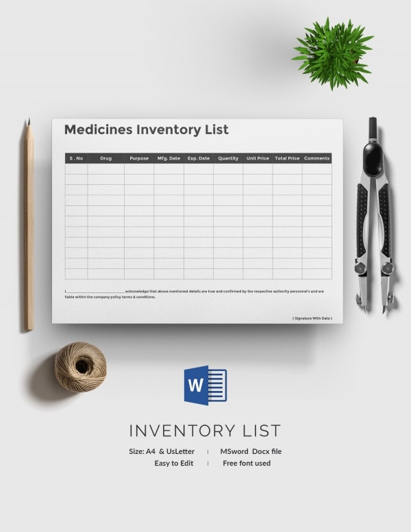 Sample Inventory List 11 Free Word Excel PDF Documents – Inventory List Format