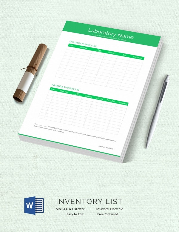 Laboratory Inventory List Template