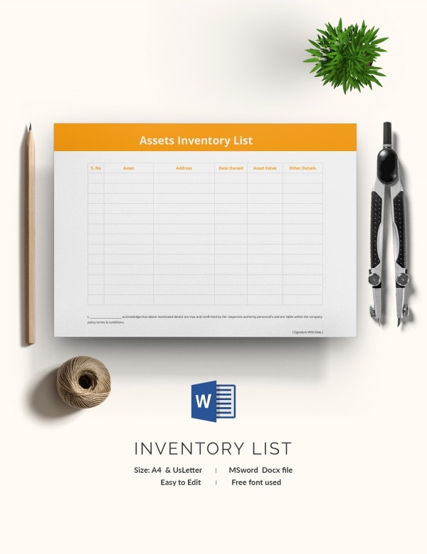 Assets Inventory List Template
