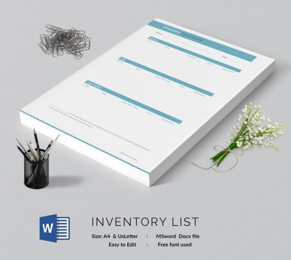 Grocery Inventory List Template