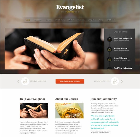evangelist spiritual church wordpress template