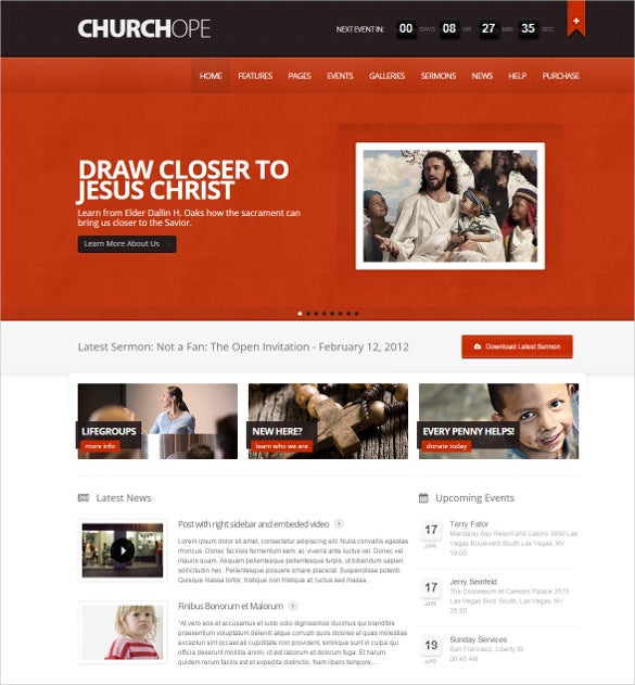 spiritual churc hope responsive wordpress template