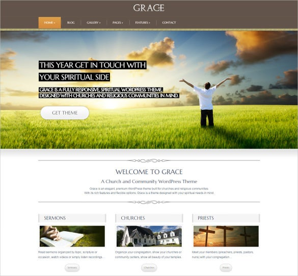 grace spiritual responsive church wordpress theme