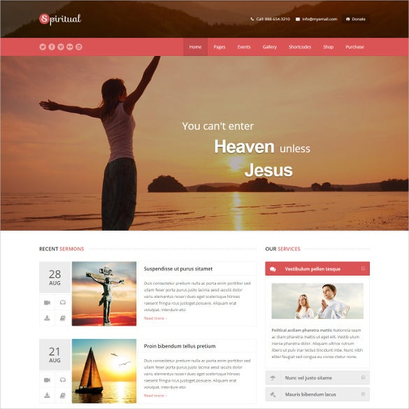 spiritual church wordpress theme