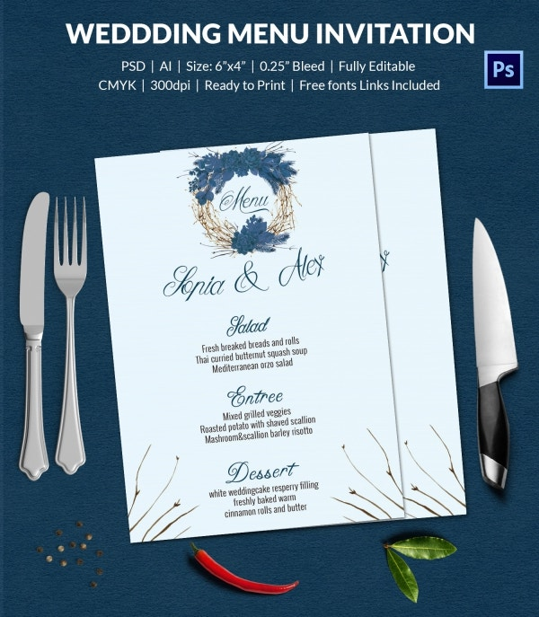Editable Wedding Menu Invitation Template