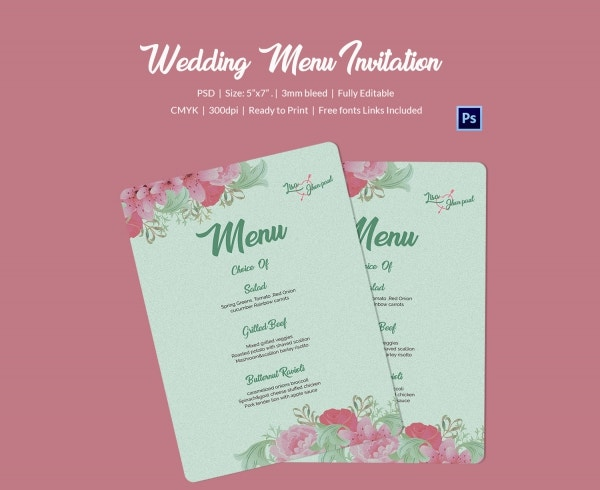 Floral Wedding Menu Invitation Template