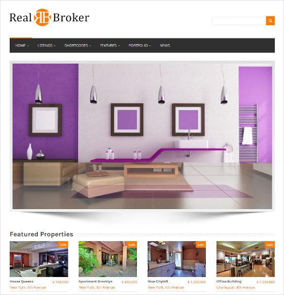 real broker wordpress real estate theme