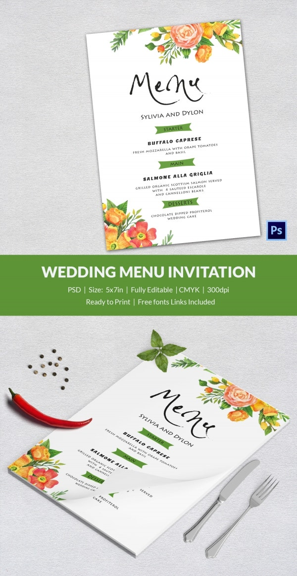 wedding menu template 44 free word pdf psd eps format download free premium templates. Black Bedroom Furniture Sets. Home Design Ideas