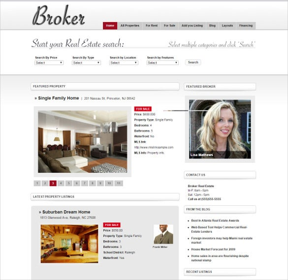 broker real estate wordpress theme