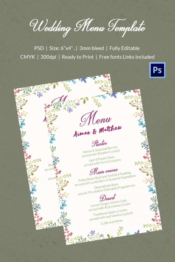 Decorative Wedding Menu Template