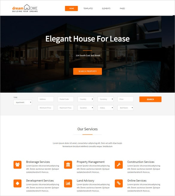 dream home broker real estate wordpress template