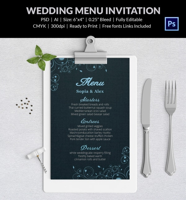 Personalized Wedding Menu Template