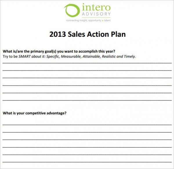 Beautiful Sales Action Plan Template Sample PDF