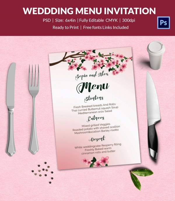 Wedding Party Menu Template