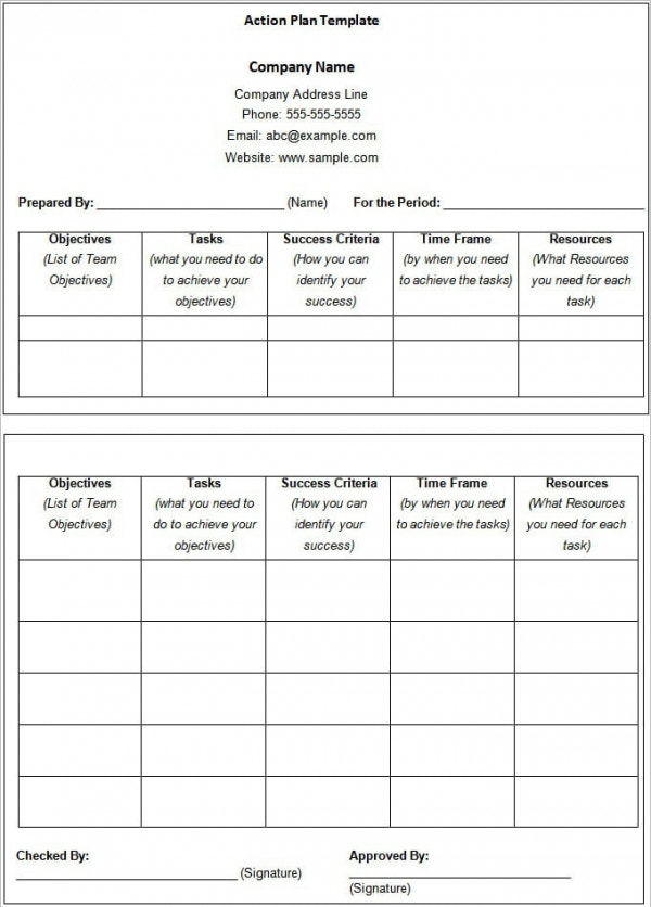 free sales action plan template in word doc