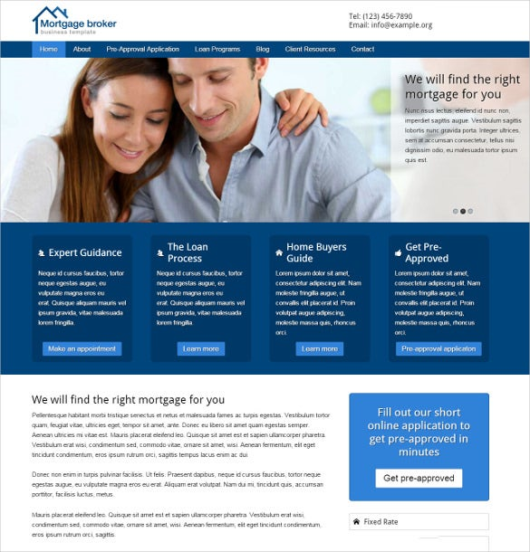 mortgage broker wordpress template