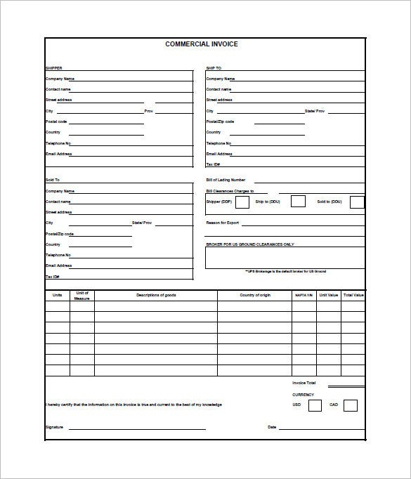 Commercial Invoice Templates Word Excel PDFAI Free - Commercial invoice template fedex for service business