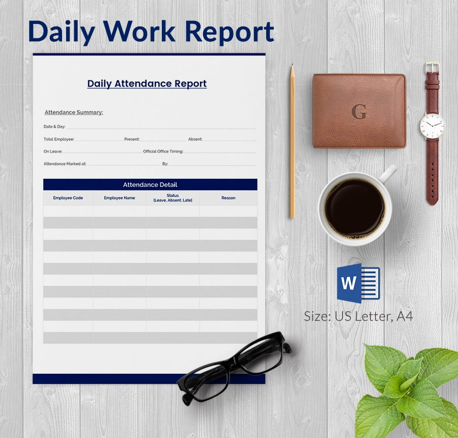Daily Attendance Report Template